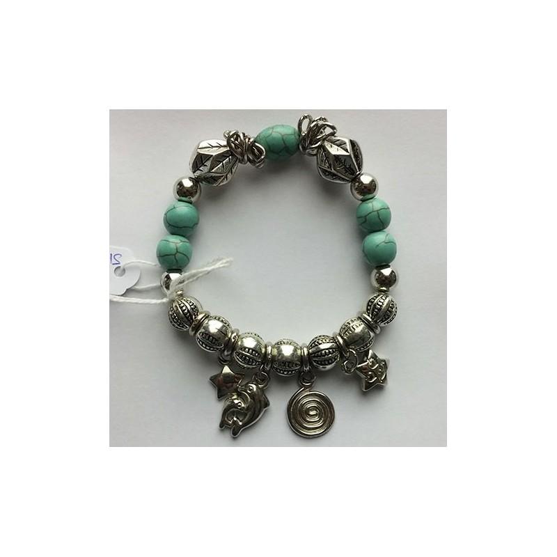 bracelet turquoise avec breloques pas cher. Black Bedroom Furniture Sets. Home Design Ideas
