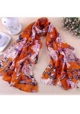 """Foulard à motifs """"papillons"""" (orange) (150 cm X 40 cm)"""