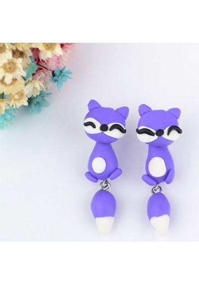Boucles d'oreilles Renard Coloris Violet